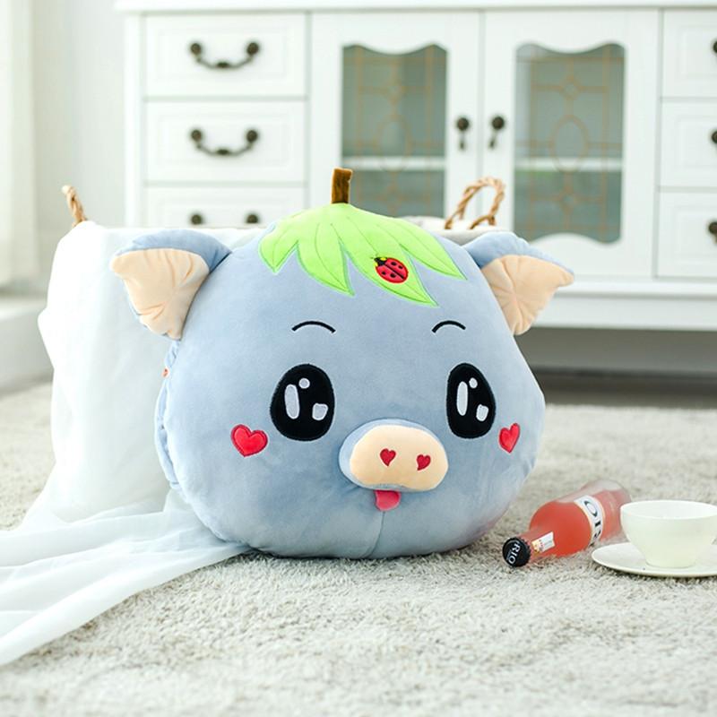 可爱小猪猪头空调毯两用抱枕 (手捂款)40厘米 可爱猪头-蓝色高清实拍