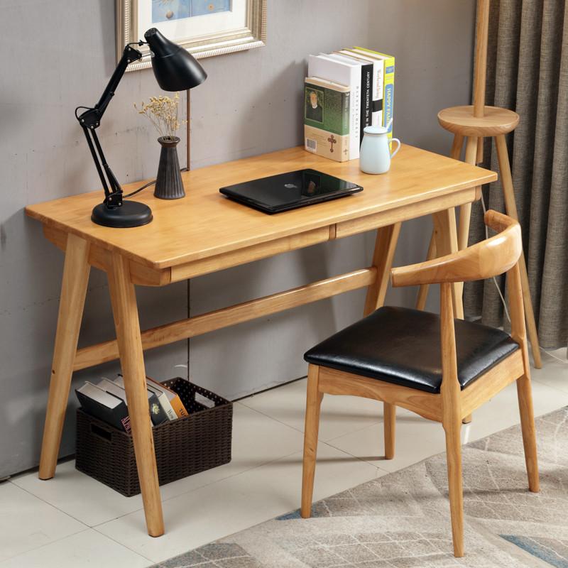 明佳友 日式北欧实木书桌 简易台式电脑桌 小户型家用组装桌子 原木色