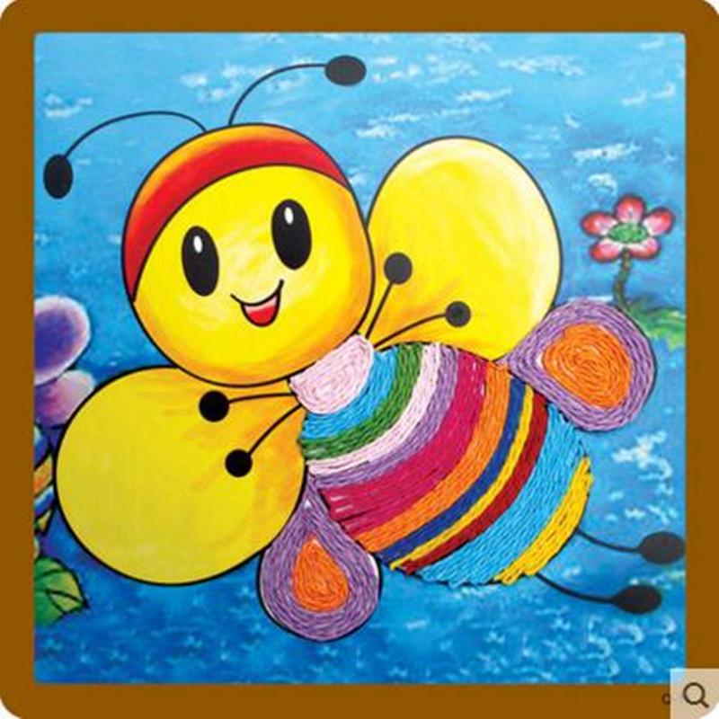 纸绳画 儿童手工制作材料 幼儿园粘贴画 绳子艺术玩具 小鱼