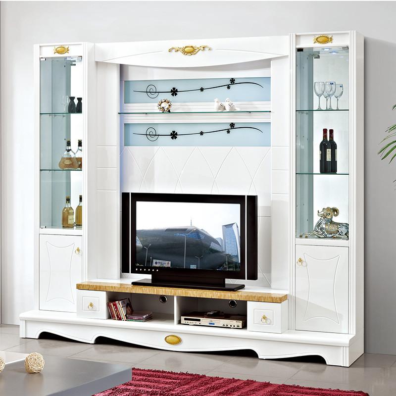 琪幻 欧式电视柜组合背景墙柜 现代客厅影视墙柜地柜酒柜组合柜 均色