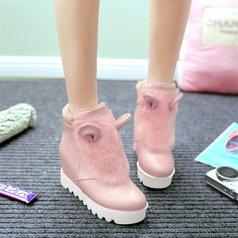 韩版甜美少女毛毛鞋百搭可爱公主兔兔耳朵内女鞋短靴白色棉靴14811845