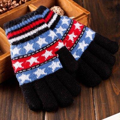 5-10儿童加绒加厚保暖分指手套韩版潮编织毛线手套男女童宝宝小孩小