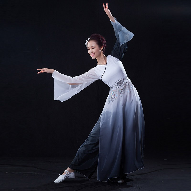 舞蹈_水袖舞蹈服水墨古典舞演出服女惊鸿练功服成人采薇舞表演服装古装 xl