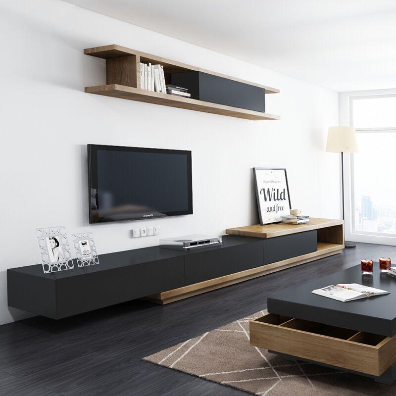 乐私 电视柜 现代简约伸缩储物电视机柜茶几组合 胡桃木 茶几 单个挂