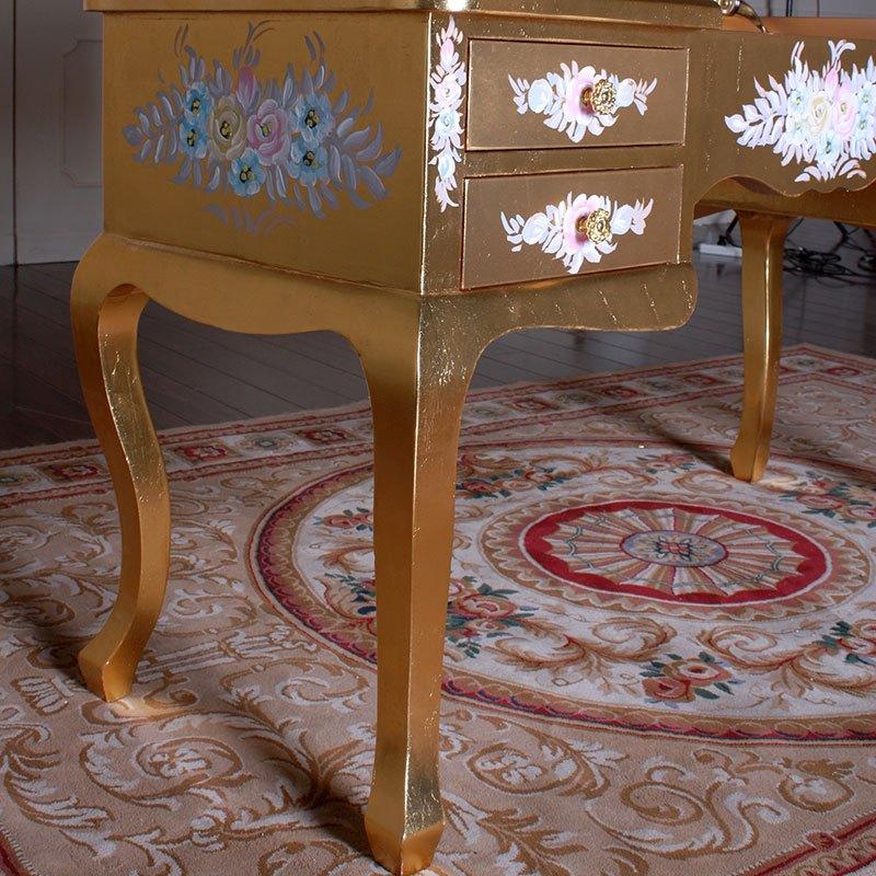 fp家居 欧式豪华实木彩绘家具 手工贴金箔法式路易风格妆台带镜 全贴