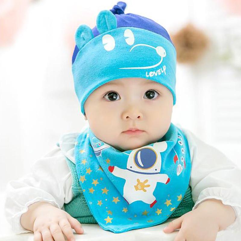 贝迪牛太空米宝帽子三角巾套装 四季款 宝宝套头帽胎帽 0-18个月 粉色