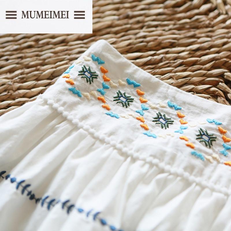 mum白色刺绣可爱短裙 棉裙舒适好穿 甜美日系百搭款半身裙 s 白色高清