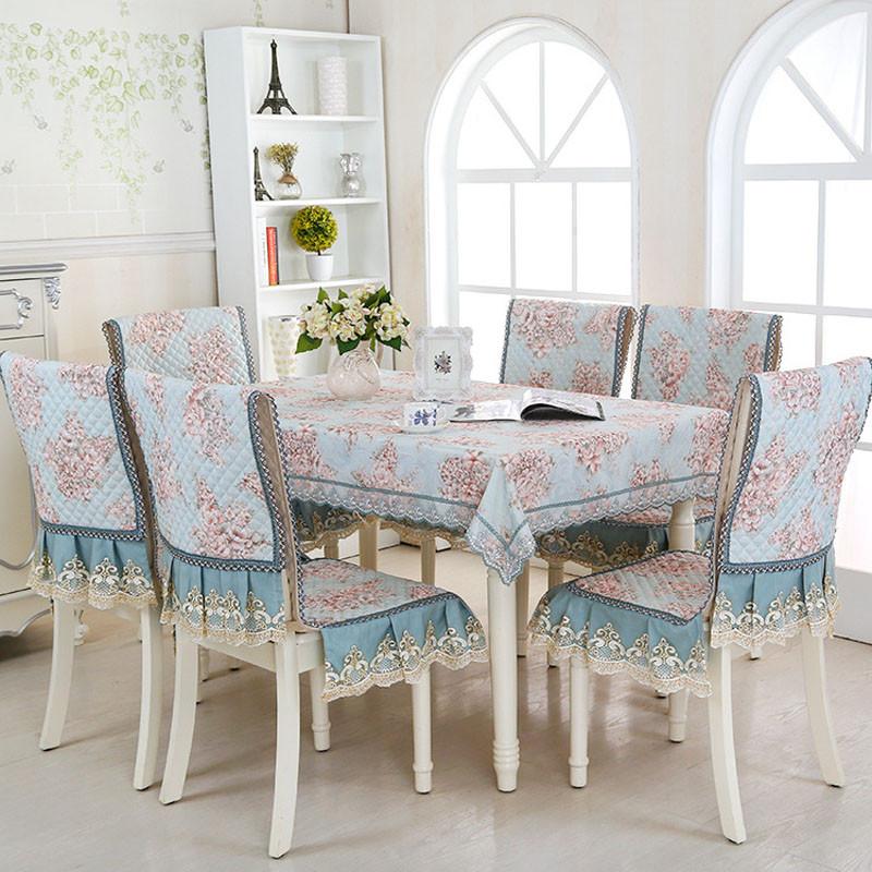欧式长方形餐桌布茶几台布防滑椅垫坐垫靠背垫套中式连体椅套套装