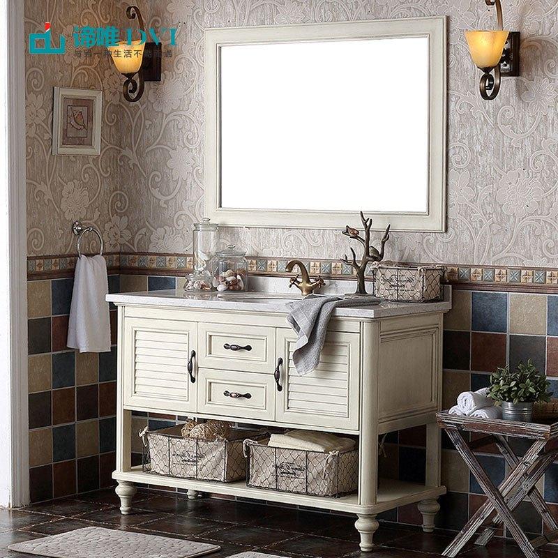 谛唯 美式仿古浴室柜 卫生间洗脸盘组合 实木欧式落地浴室柜组合 卫浴