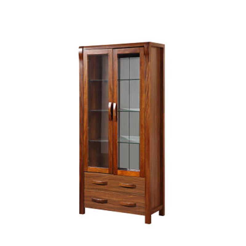实木 双门酒柜 新中式客厅间厅隔断柜 装饰柜 北欧简约玻璃柜子储物柜图片