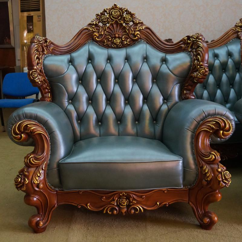 淮木 大户型沙发欧式皮沙发 客厅组合u形 美式实木皮艺沙发 113组合