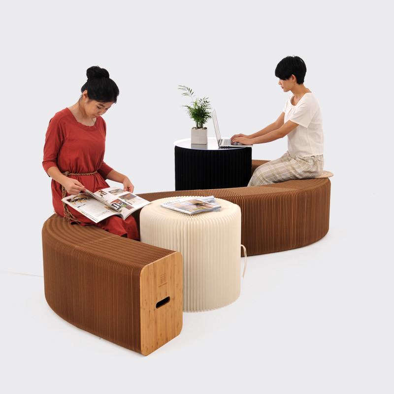 淮木 时尚个性手风琴式可折叠创意椅子 文艺范拉伸家具凳子伸缩沙发潮