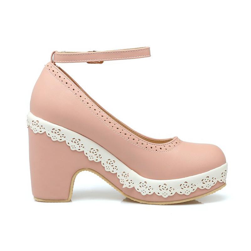 洛丽塔鞋女高跟鞋粉色cosplay鞋子可爱lolita单鞋女公主可爱