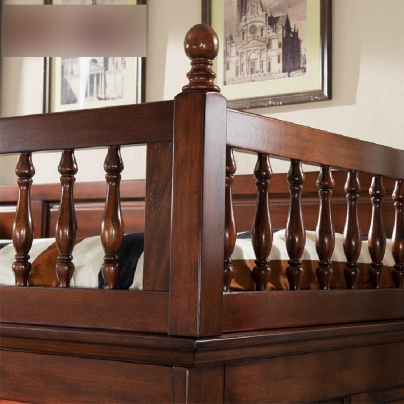 淮木(huaimu)全实木子母床纯胡桃木高低床美式家具 美式儿童床上下床