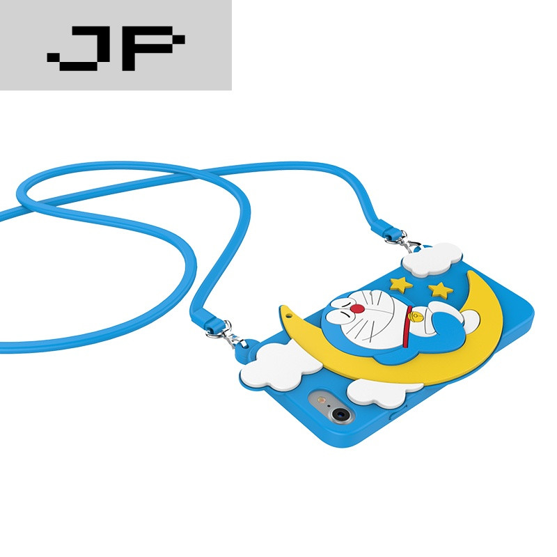 bear哆啦a梦iphone7plus挂绳硅胶手机壳苹果卡通可爱保护 【月亮萌宝
