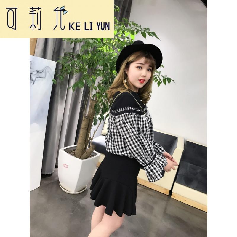 keliyun黑白格子喇叭袖假两件衬衫纯棉长袖衬衫韩版宽松显瘦上衣女 xl