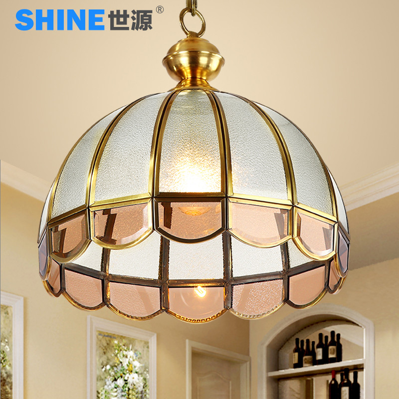 世源欧式全铜吊灯美式餐厅灯简欧书房灯过道走廊led客厅灯具7902 25*图片