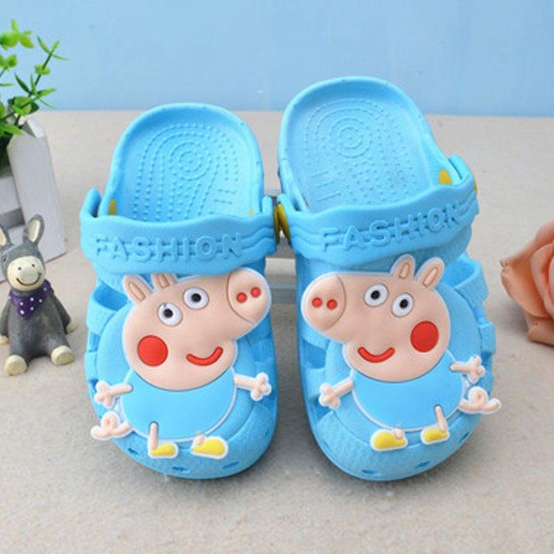 2017新品可爱卡通小动物夏季儿童凉拖鞋小猪佩奇女童男童室内防滑软底