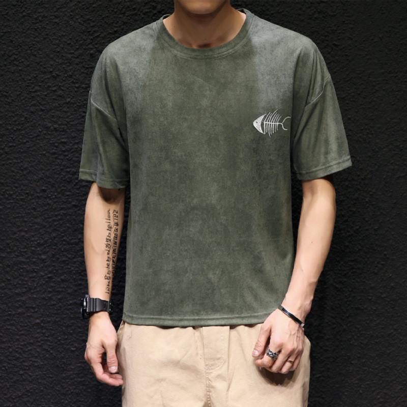 2017新款日系五分袖短袖t恤男t991492686178138 3xl 浅灰色
