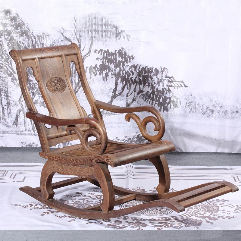 博古恒韵红木家具鸡翅木摇椅躺椅 中式实木休闲椅 夏季逍遥椅懒人椅老