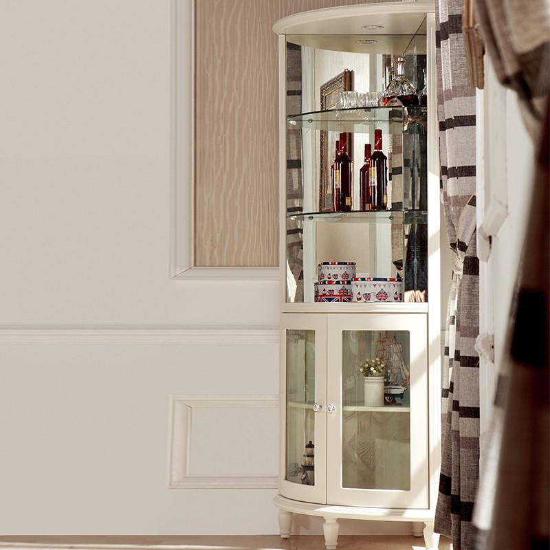 酒柜 欧式实木玻璃柜转角酒柜客厅餐边柜三角柜现代简约边角柜墙 转角