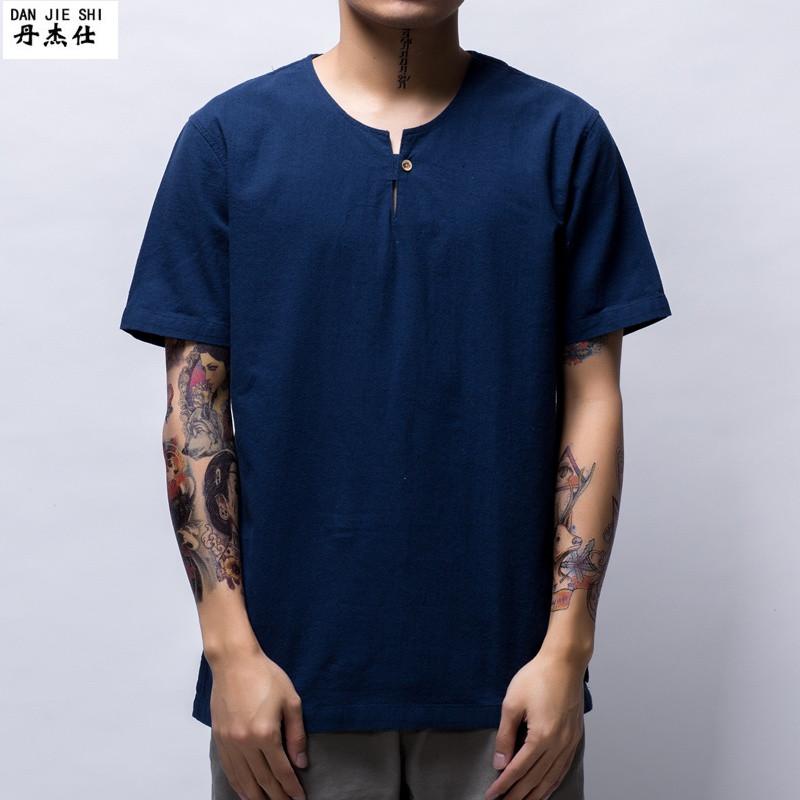 丹杰仕(danjieshi)男士短袖t恤圆领纯色棉麻t袖上衣青年日系宽松亚麻