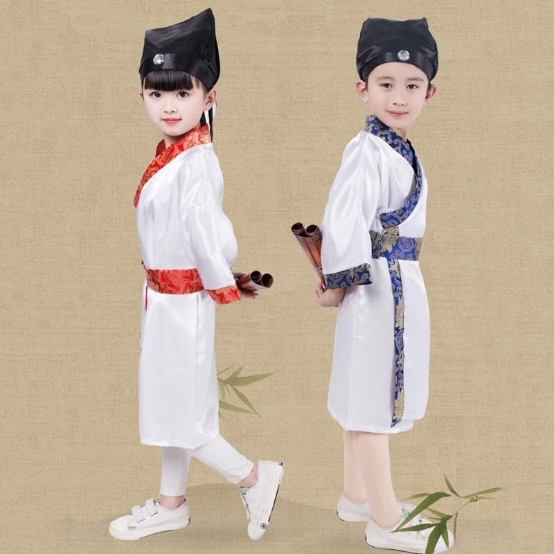 六一儿童演出服古装汉服男女童舞蹈幼儿园书童三字经国学表演服装 110