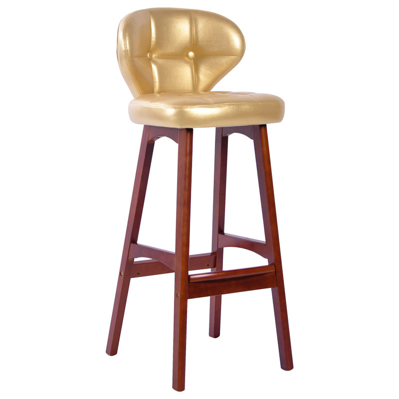 实木吧台椅酒吧椅子欧式高脚凳吧台凳美式复古家用靠背凳子 金色/棕架