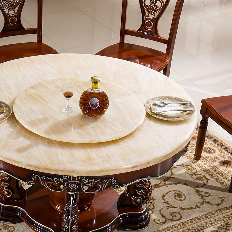 千住明爱绿居 欧式餐桌椅组合6人现代简约餐厅实木大理石圆桌带转盘