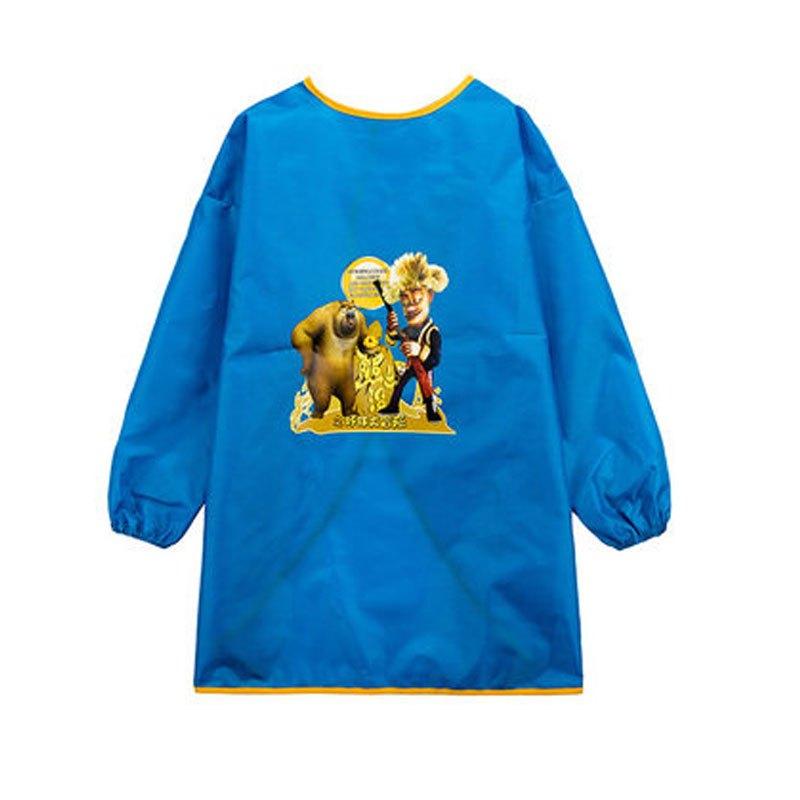宝宝长袖罩衣简约小清新印花小动物食饭衫 105(s码(建议90-100cm))