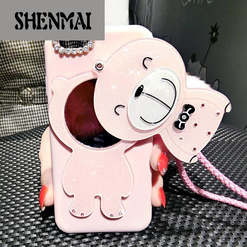shm品牌oppor9手机壳女款水钻r9plus手机壳软硅胶可爱卡通熊创意化妆