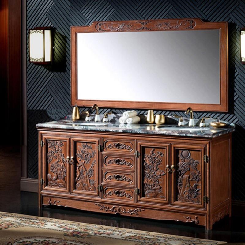 仿古中式落地浴室柜组合实木卫生间洗手台柜洗脸盆古典卫浴柜 红橡木