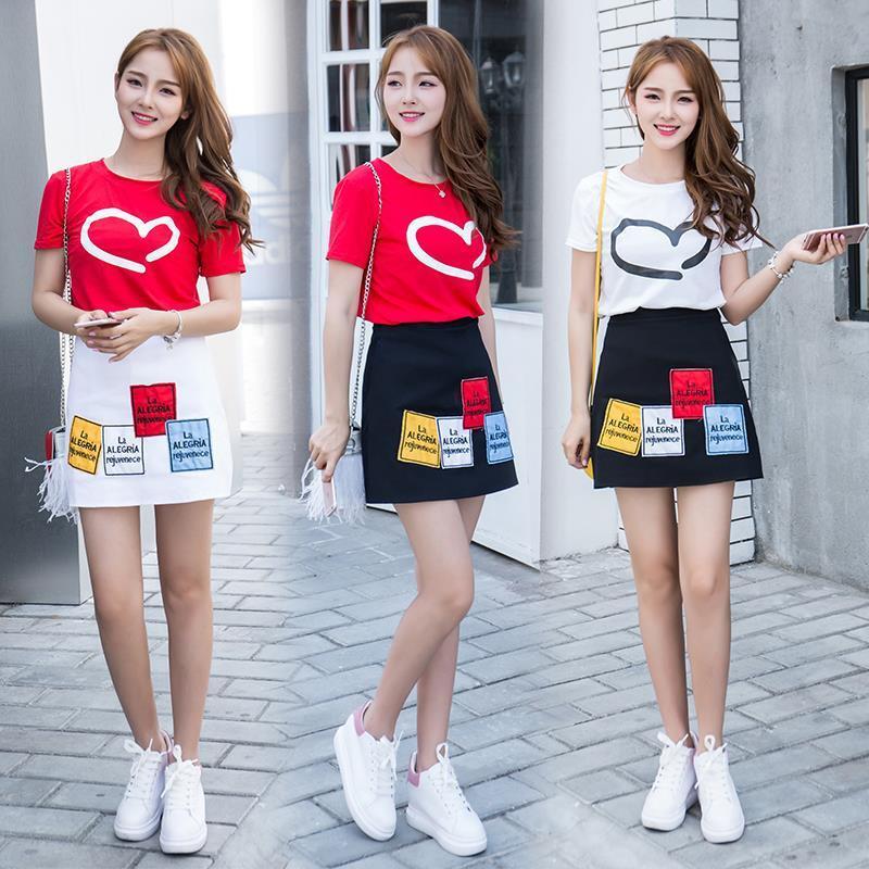 opzc三人闺蜜装夏季套装韩版姐妹学生少女两件套百搭套装裙00后连衣裙