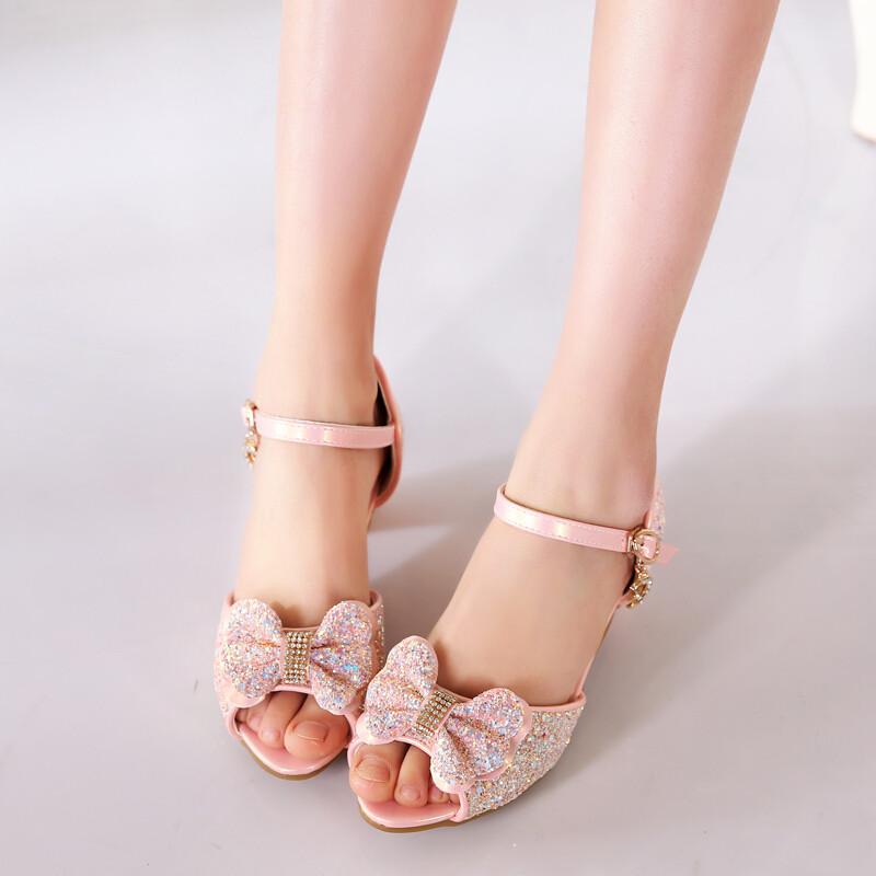 opzc儿童鞋女童凉鞋中大童时尚高跟鞋夏季小女孩公主鞋小学生韩版