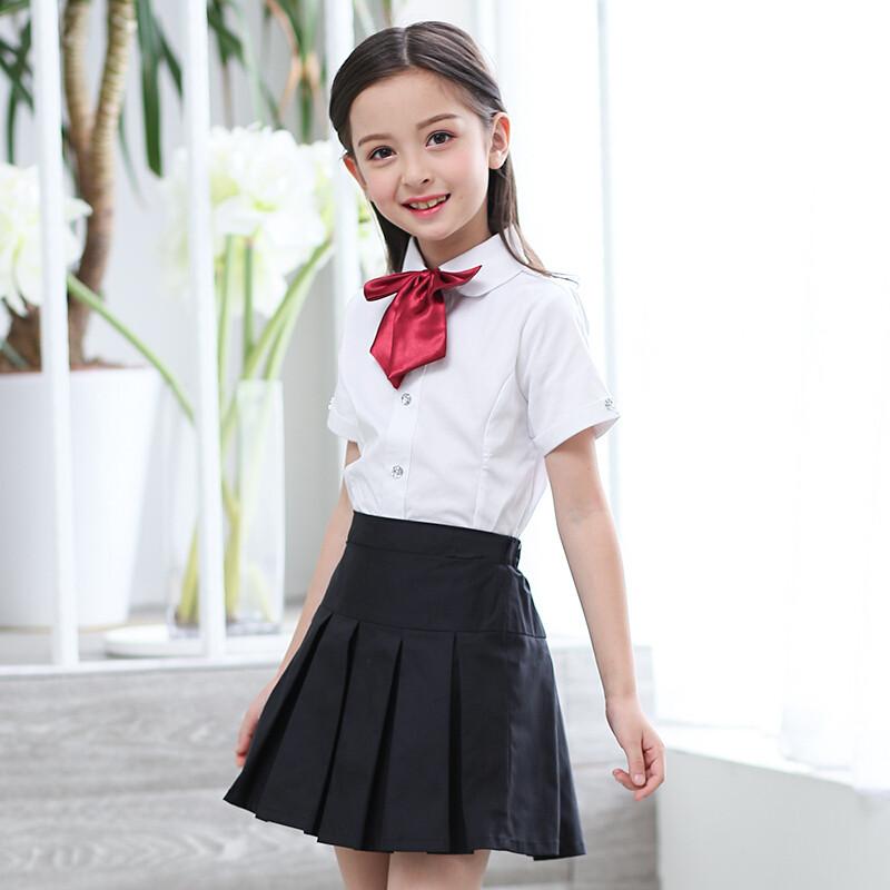 opzc女童短袖纯白衬衫黑色半身裙百褶裙短裙套装校服演出服女孩儿童装图片