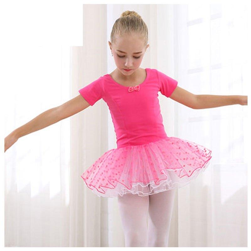 2017新品夏季可爱儿童舞蹈服装女童夏季蓬蓬裙短袖表演出服芭蕾舞裙