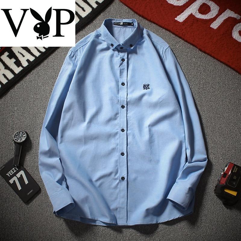 花花公子贵宾vip7春季新款男士休闲长袖秀标衬衫p5潮3白底 3xl 浅蓝色