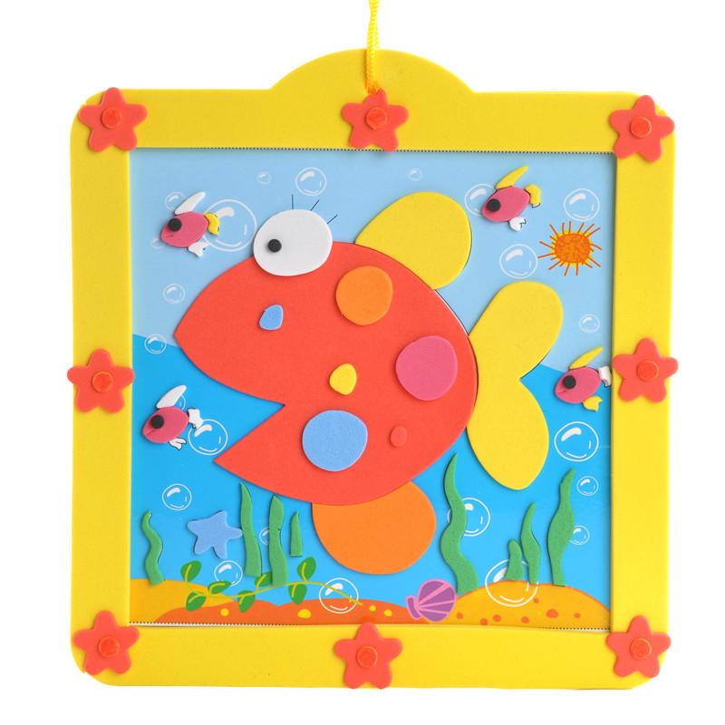 孩派eva儿童贴画手工制作方形圆形相框贴画材料包 12款小相框 5款随机