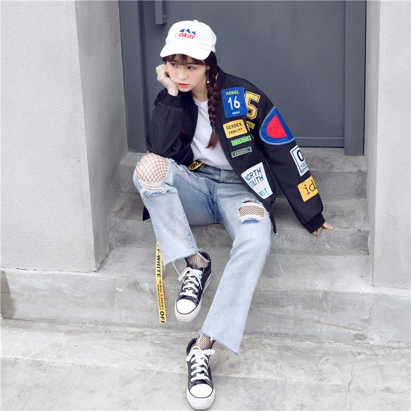 蔚缇2017贴标棒球服女外套BF风宽松学生外套