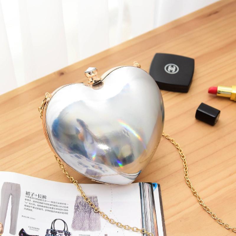心型包心形包爱心包桃心包链条包斜挎包迷你包包晚宴女包 银色炫光
