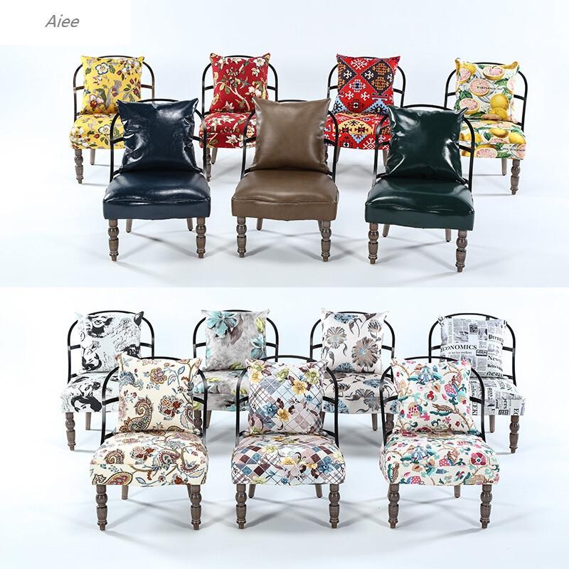 aiee北欧单人沙发椅子loft布艺拆洗铁艺复古美式乡村皮店铺工业风家具图片