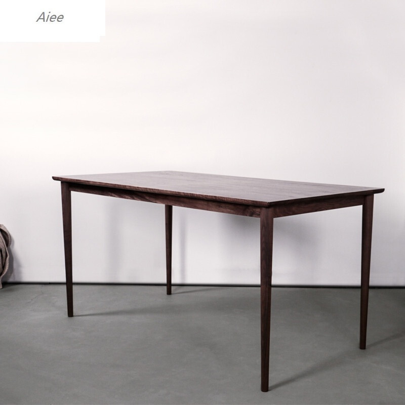 aiee现代简约日式原木家具北欧黑胡桃橡木实木餐桌黑胡桃1800现代简约
