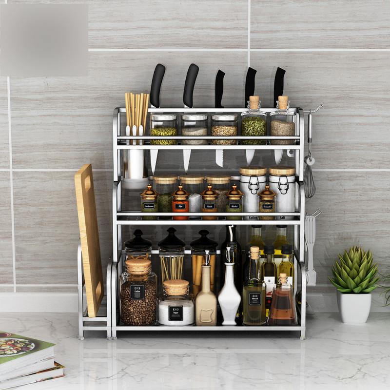 不锈钢厨房置物架收纳用品用具2层厨具刀架壁挂调味品调料架子生活日图片