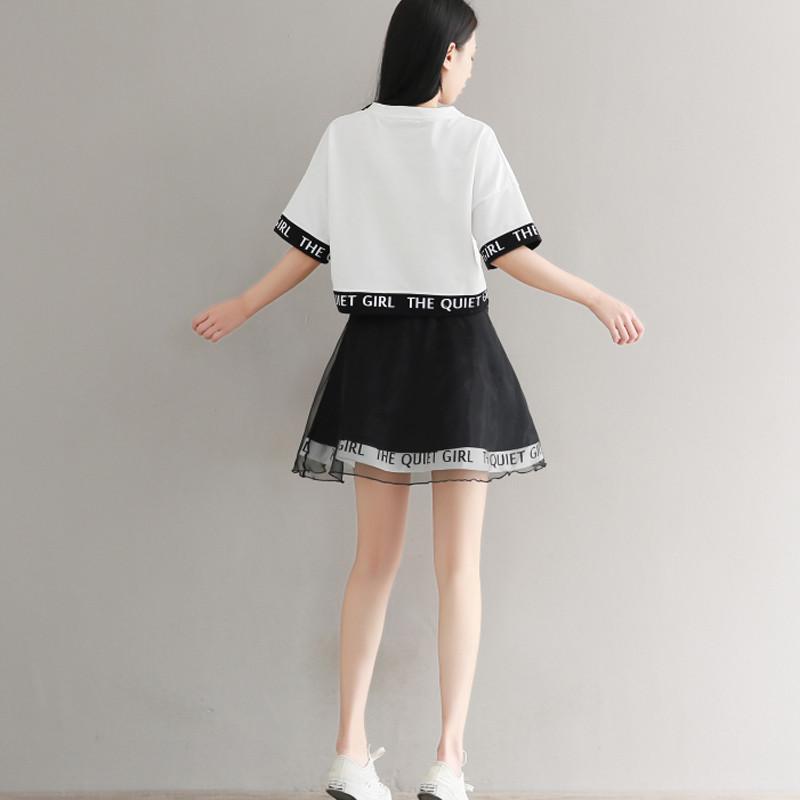 828新款青少年2017新款少女夏装可爱短袖连衣裙套装高中学生韩版网纱