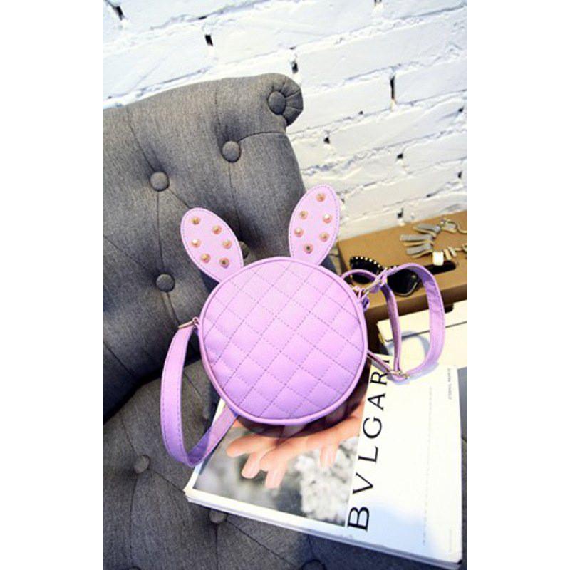 卓胜基韩版儿童包包女童斜挎包迷你小孩可爱公主时尚兔耳朵柳钉单肩包