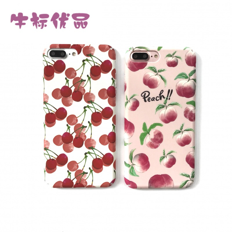 牛标优品夏日小樱桃7plus全包硬壳6s/6plus手机壳红色可爱水果画清新