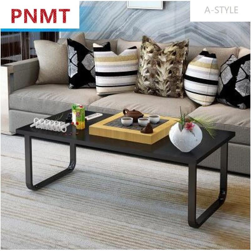 小户型多功能创意茶几现代餐桌两用客厅实木茶几简约单层x黑柳木色