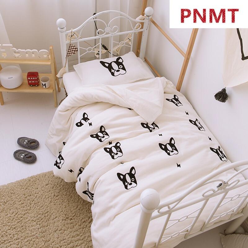 pnmt幼儿园被子三件套夏双层纱婴儿童纯棉床品宝宝午睡四件套ir小法斗