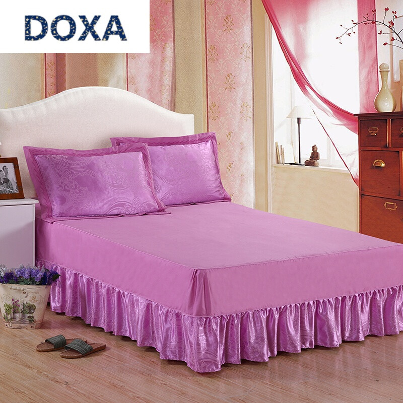 doxa欧式床罩裙式四件套纯棉春夏简约全棉贡缎提花床套1.