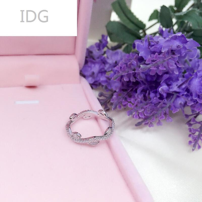 idgs925银树叶子戒指女开口尾戒潮人食指小指环时尚甜美镶钻16号925银
